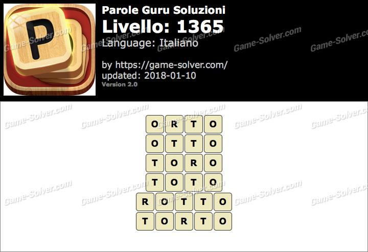 Parole Guru Livello 1365 Soluzioni
