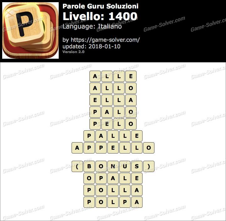 Parole Guru Livello 1400 Soluzioni