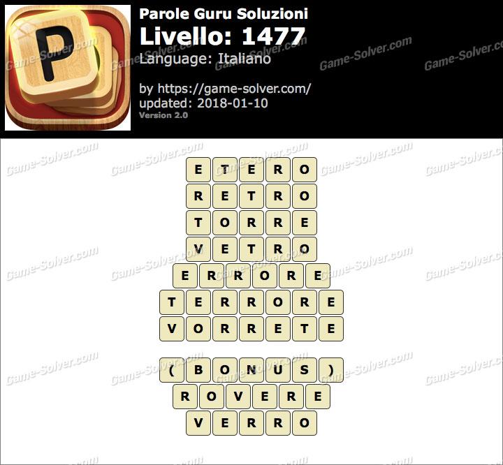 Parole Guru Livello 1477 Soluzioni