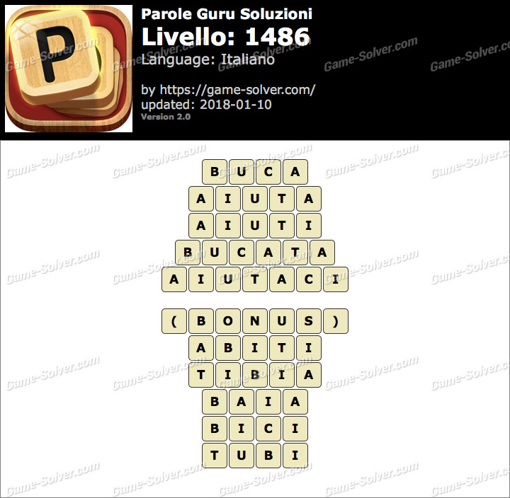 Parole Guru Livello 1486 Soluzioni