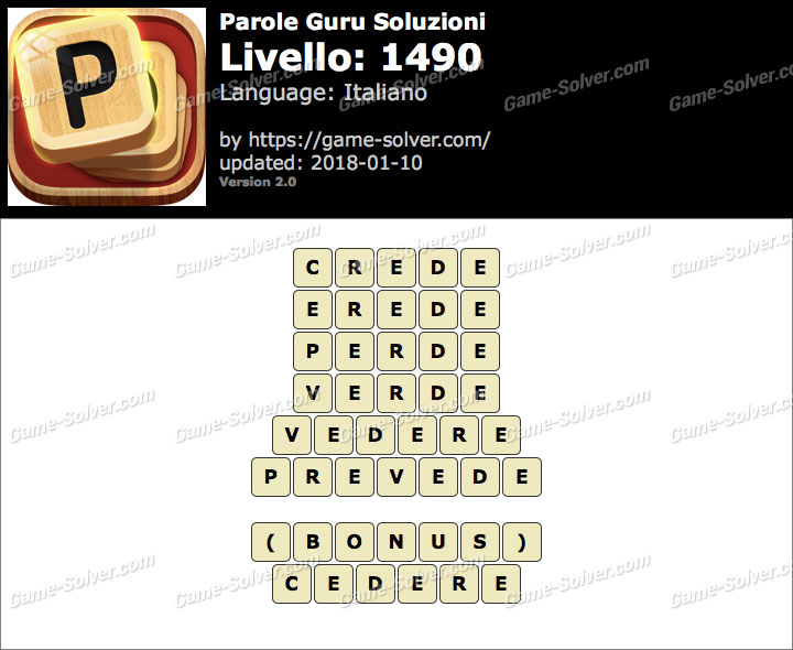 Parole Guru Livello 1490 Soluzioni