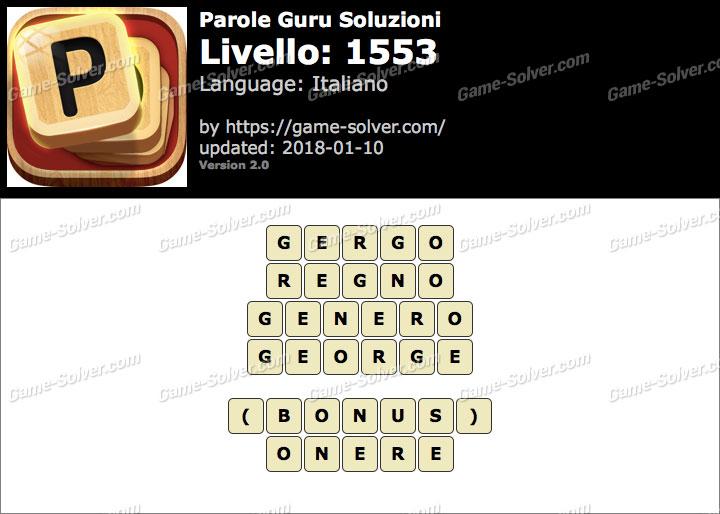 Parole Guru Livello 1553 Soluzioni