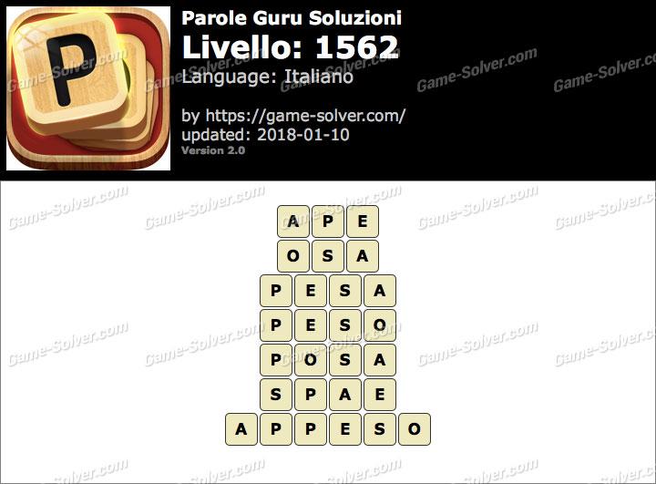 Parole Guru Livello 1562 Soluzioni