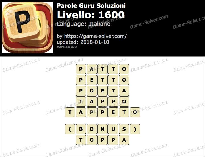 Parole Guru Livello 1600 Soluzioni