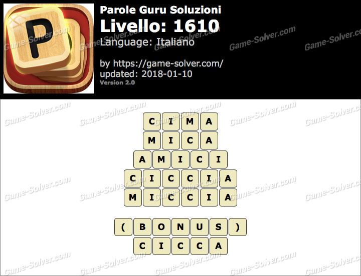 Parole Guru Livello 1610 Soluzioni