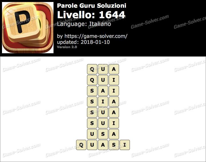 Parole Guru Livello 1644 Soluzioni