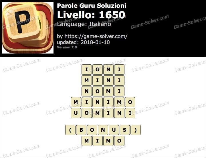 Parole Guru Livello 1650 Soluzioni