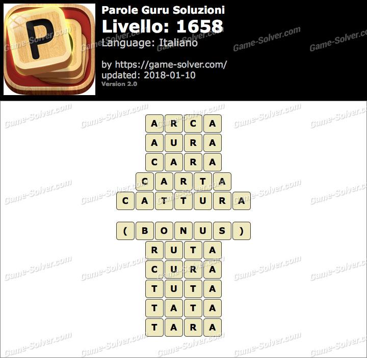 Parole Guru Livello 1658 Soluzioni