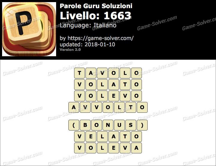 Parole Guru Livello 1663 Soluzioni