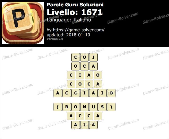Parole Guru Livello 1671 Soluzioni
