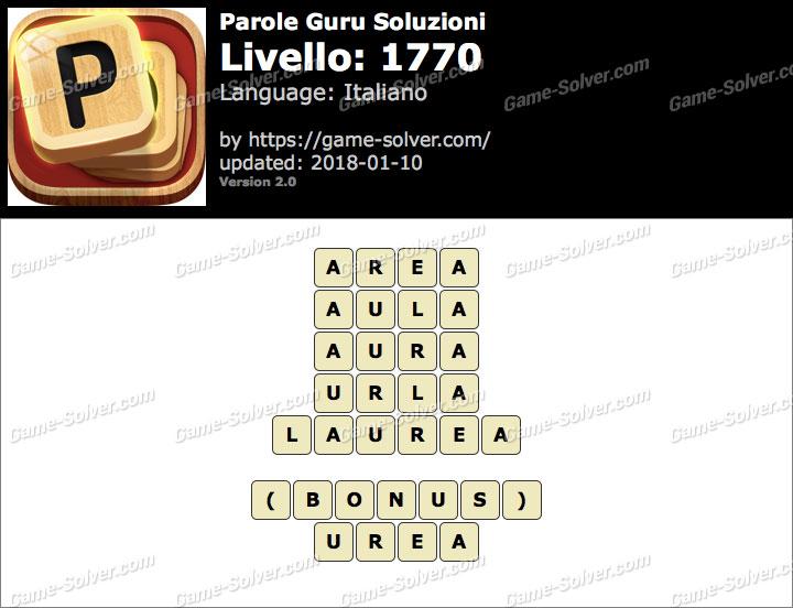 Parole Guru Livello 1770 Soluzioni