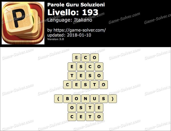 Parole Guru Livello 193 Soluzioni