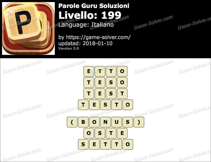 Parole Guru Livello 199 Soluzioni