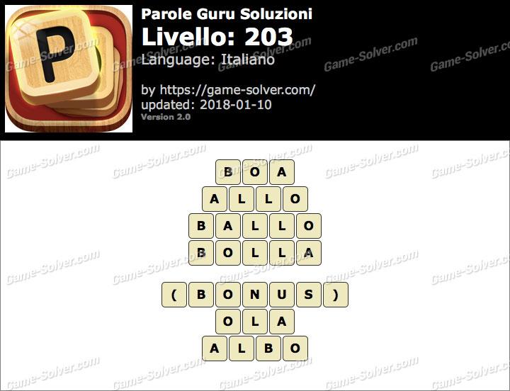 Parole Guru Livello 203 Soluzioni