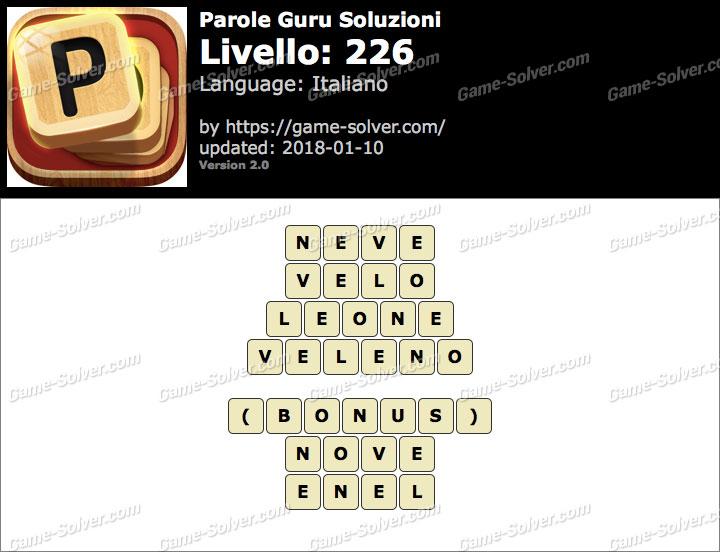Parole Guru Livello 226 Soluzioni