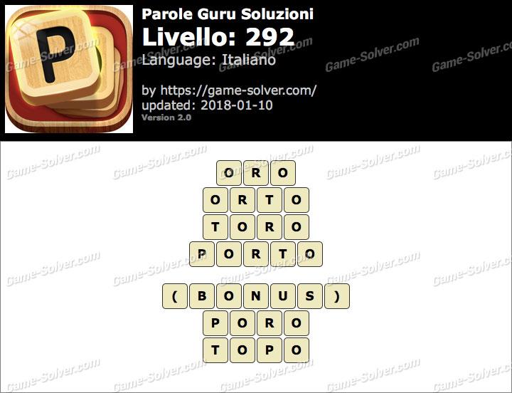 Parole Guru Livello 292 Soluzioni