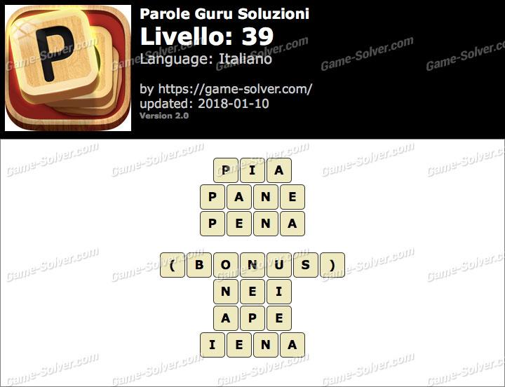 Parole Guru Livello 39 Soluzioni