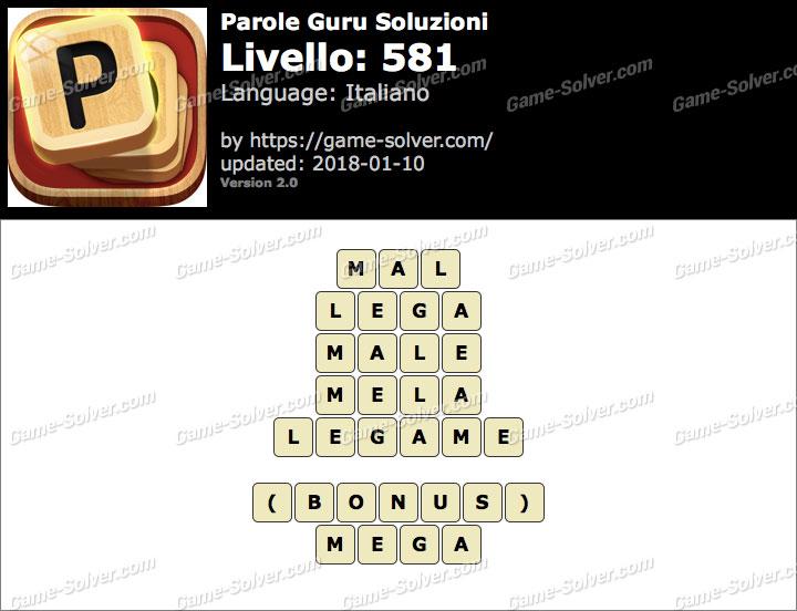 Parole Guru Livello 581 Soluzioni