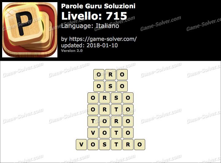 Parole Guru Livello 715 Soluzioni