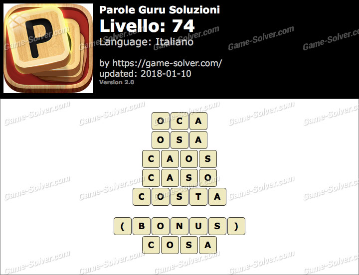 Parole Guru Livello 74 Soluzioni