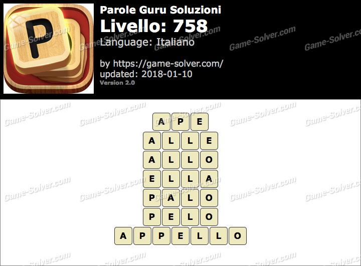 Parole Guru Livello 758 Soluzioni