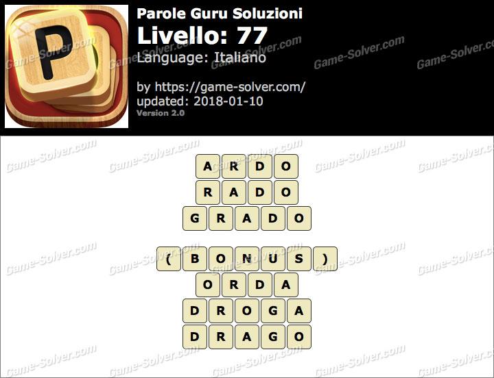 Parole Guru Livello 77 Soluzioni