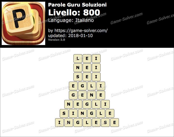 Parole Guru Livello 800 Soluzioni