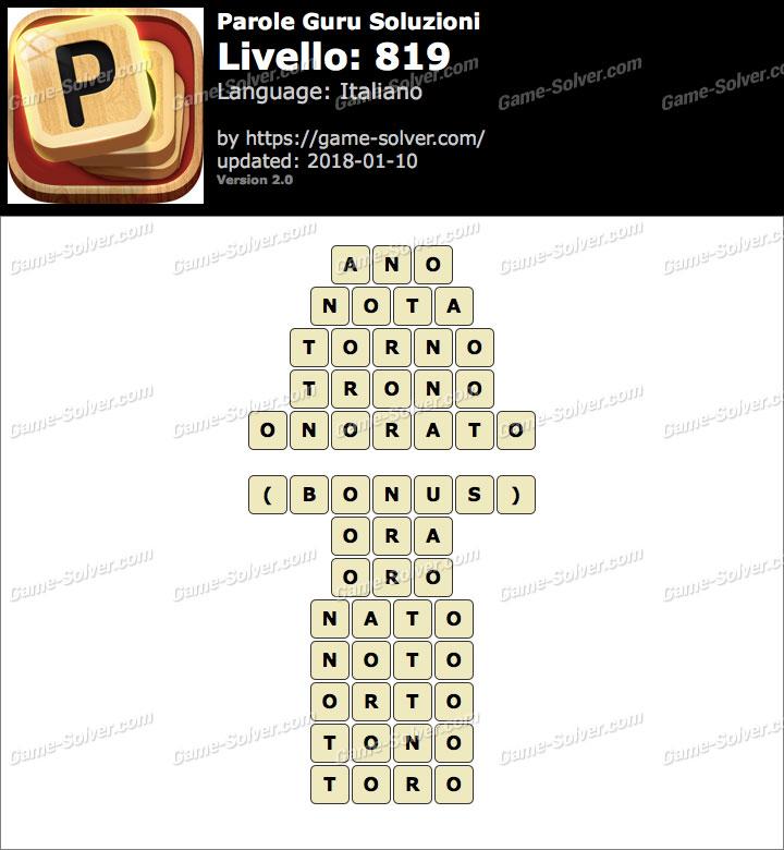 Parole Guru Livello 819 Soluzioni