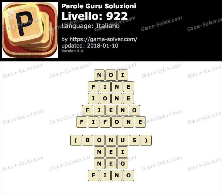 Parole Guru Livello 922 Soluzioni