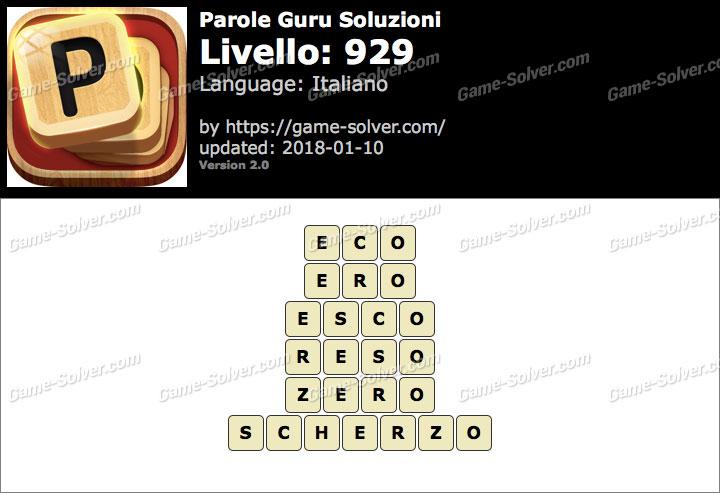 Parole Guru Livello 929 Soluzioni