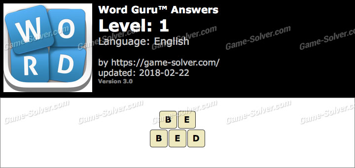 Word Guru Level 1 Answers