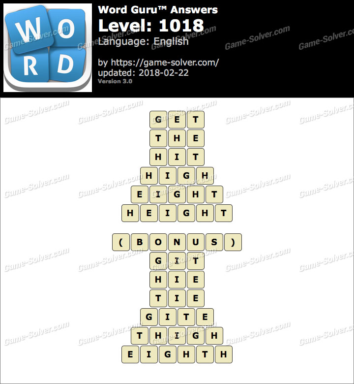 Word Guru Level 1018 Answers