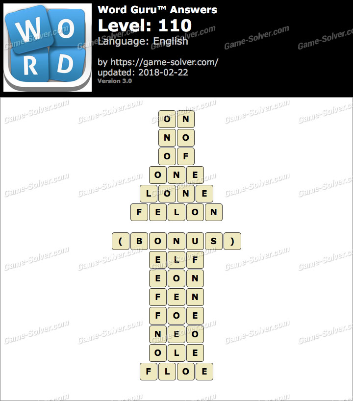 Word Guru Level 110 Answers