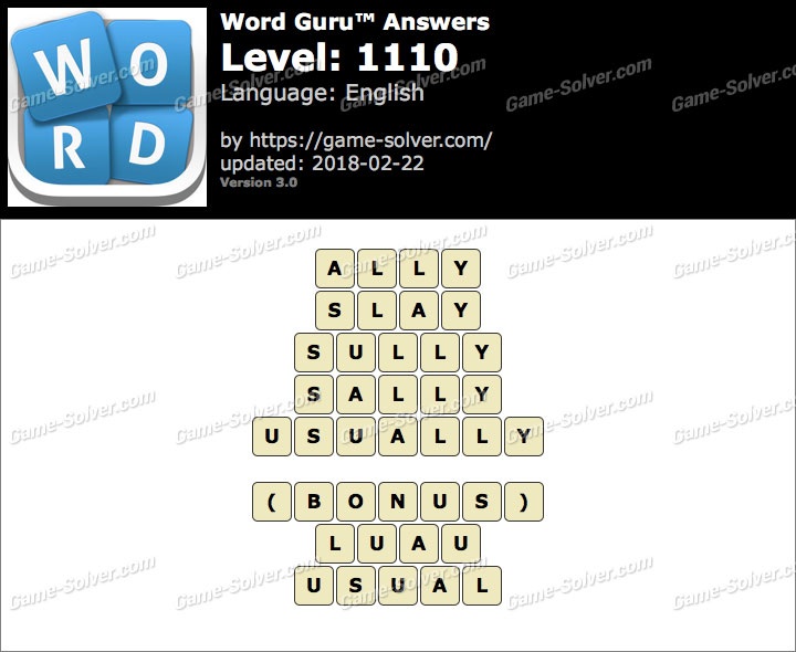 Word Guru Level 1110 Answers