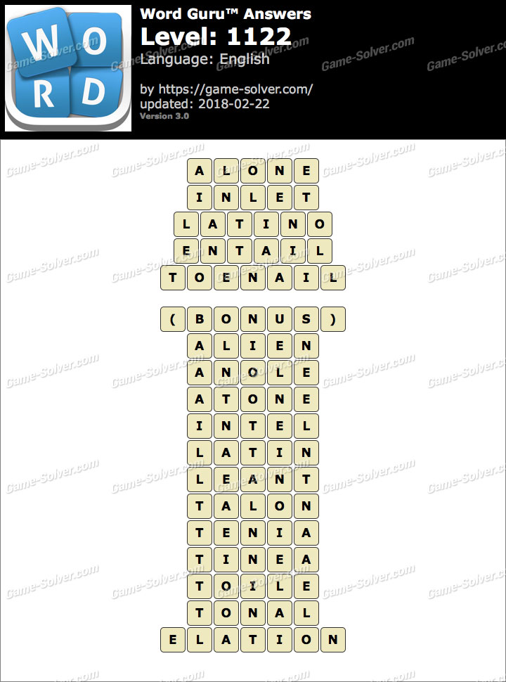 Word Guru Level 1122 Answers