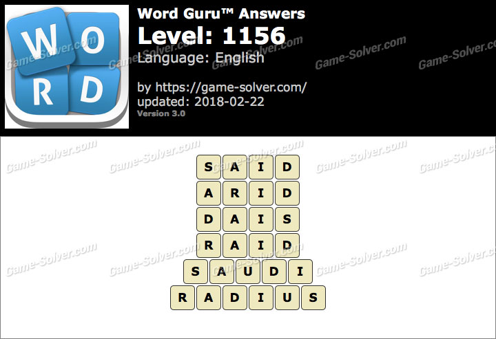 Word Guru Level 1156 Answers