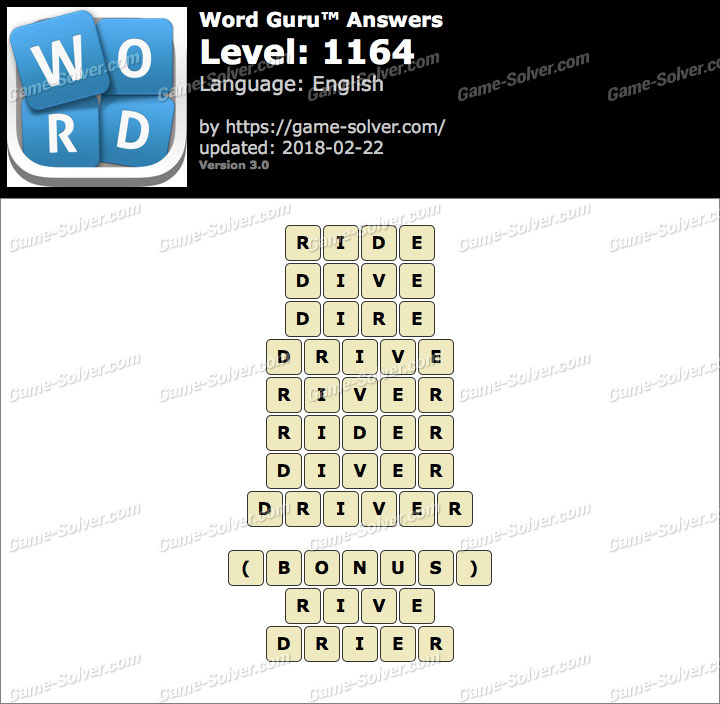 Word Guru Level 1164 Answers