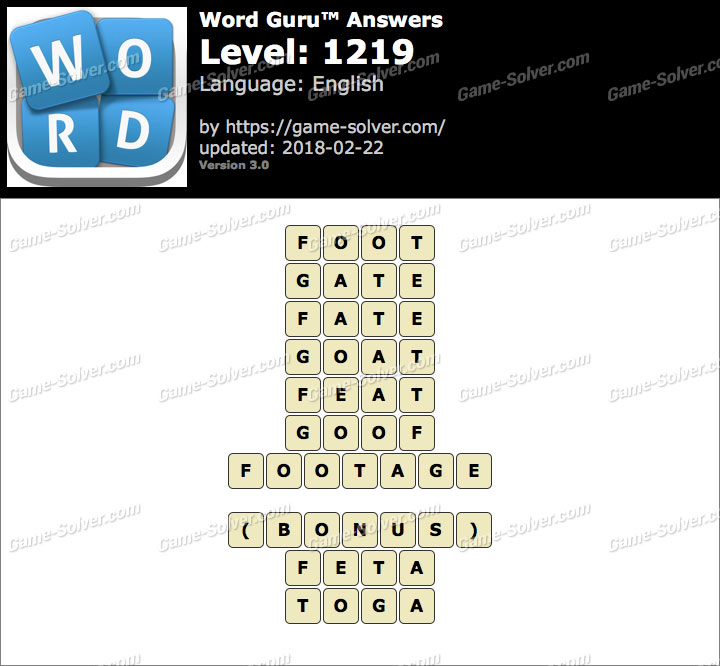 Word Guru Level 1219 Answers