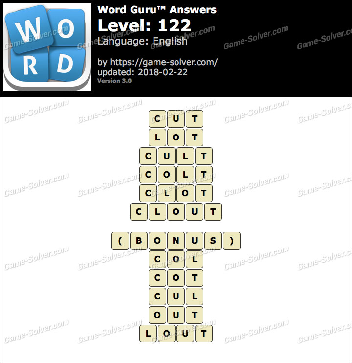 Word Guru Level 122 Answers
