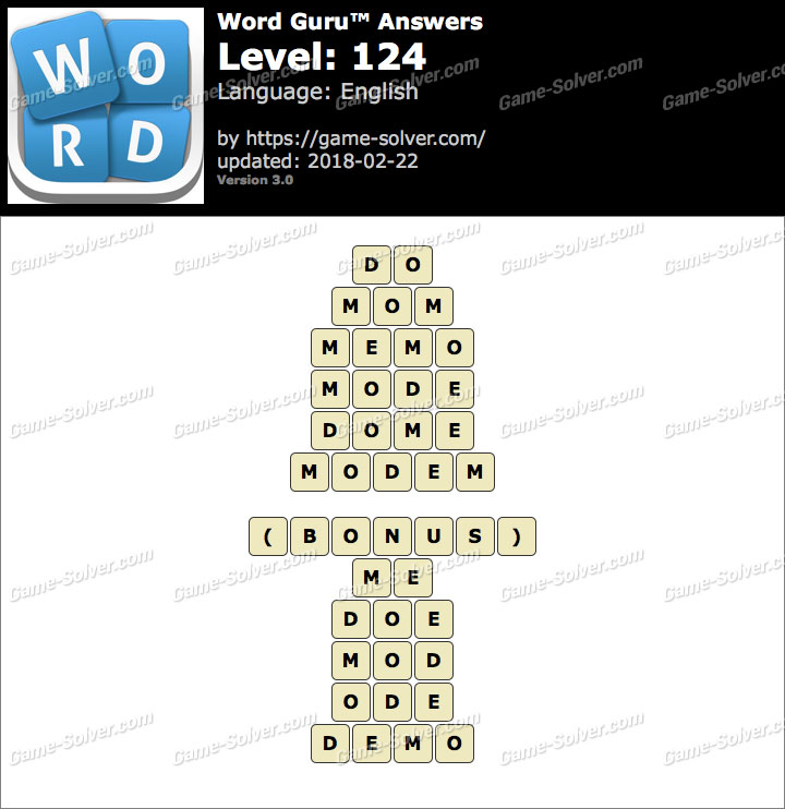 Word Guru Level 124 Answers