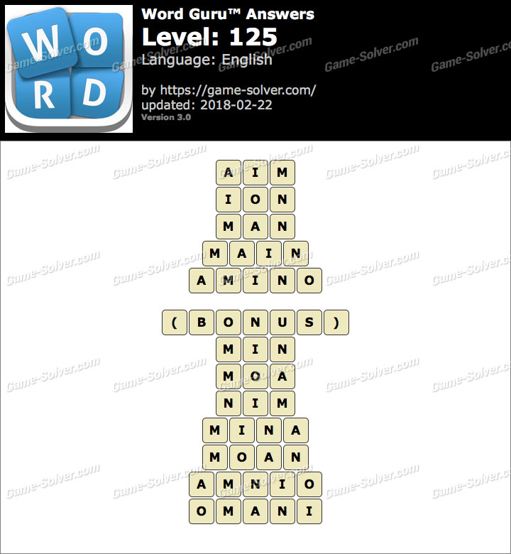 Word Guru Level 125 Answers