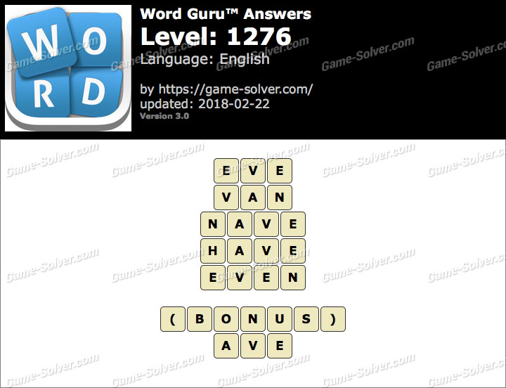 Word Guru Level 1276 Answers