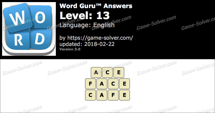 Word Guru Level 13 Answers