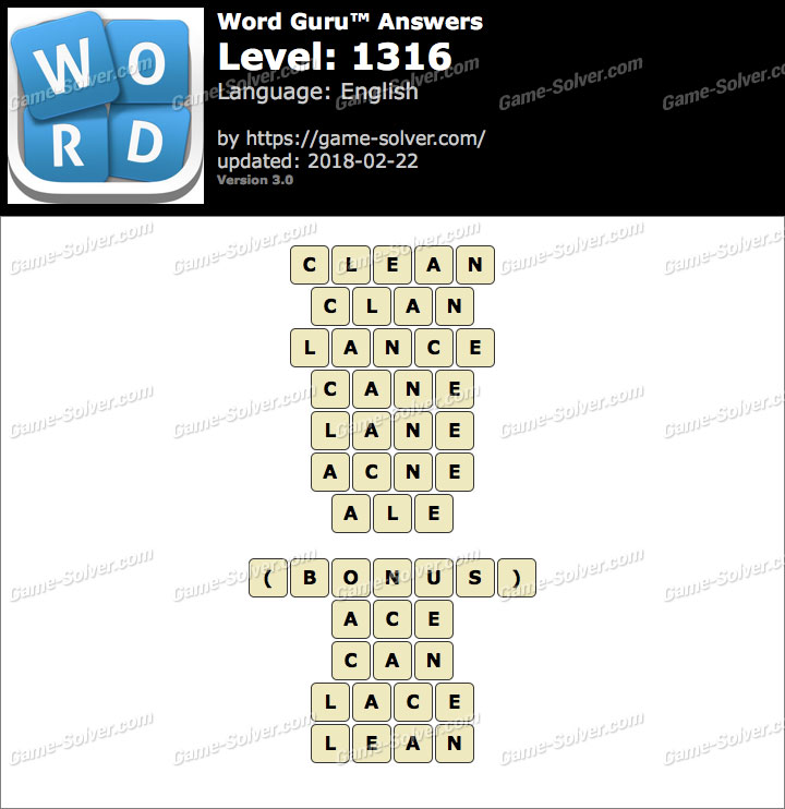 Word Guru Level 1316 Answers