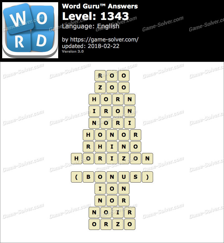 Word Guru Level 1343 Answers