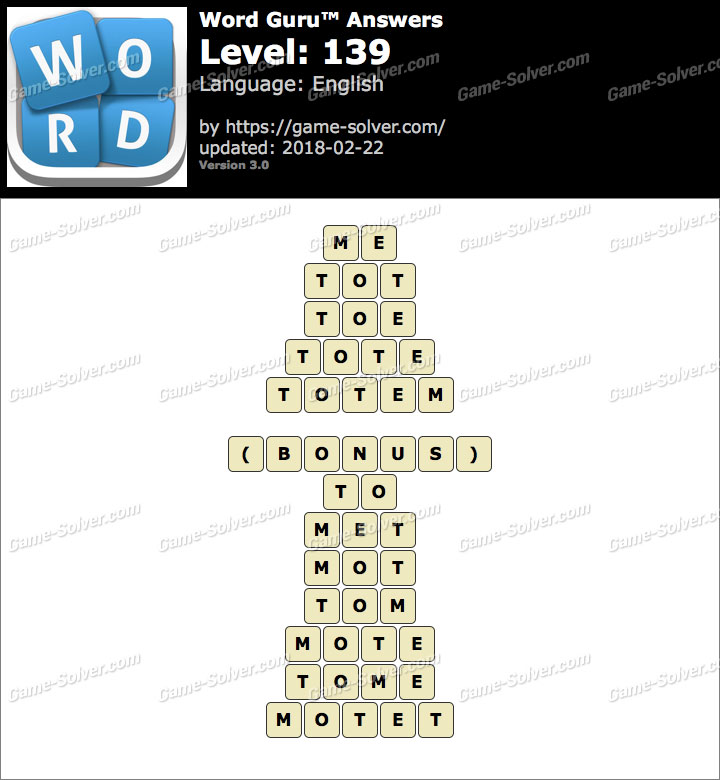 Word Guru Level 139 Answers