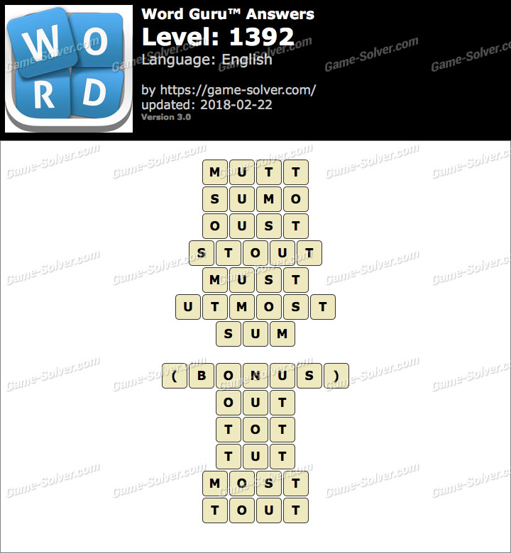 Word Guru Level 1392 Answers