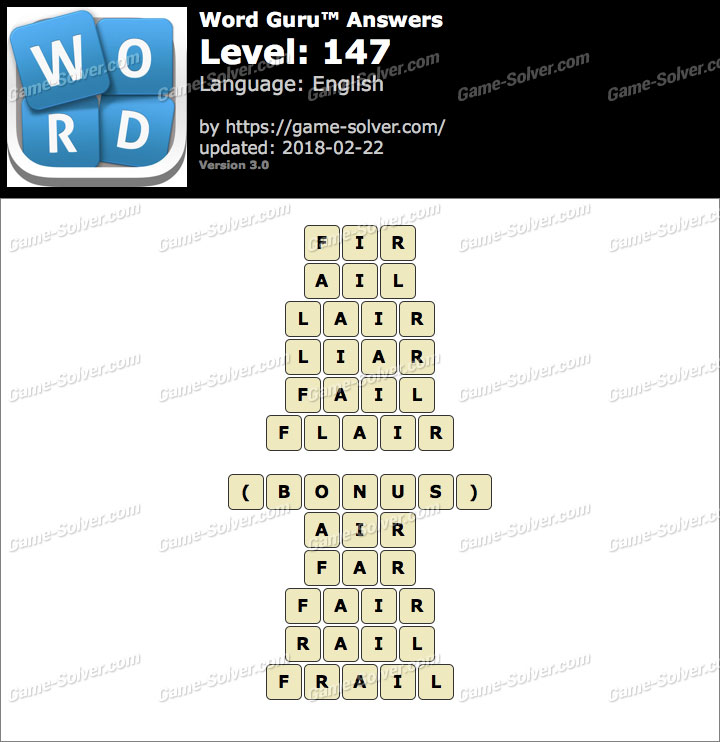 Word Guru Level 147 Answers