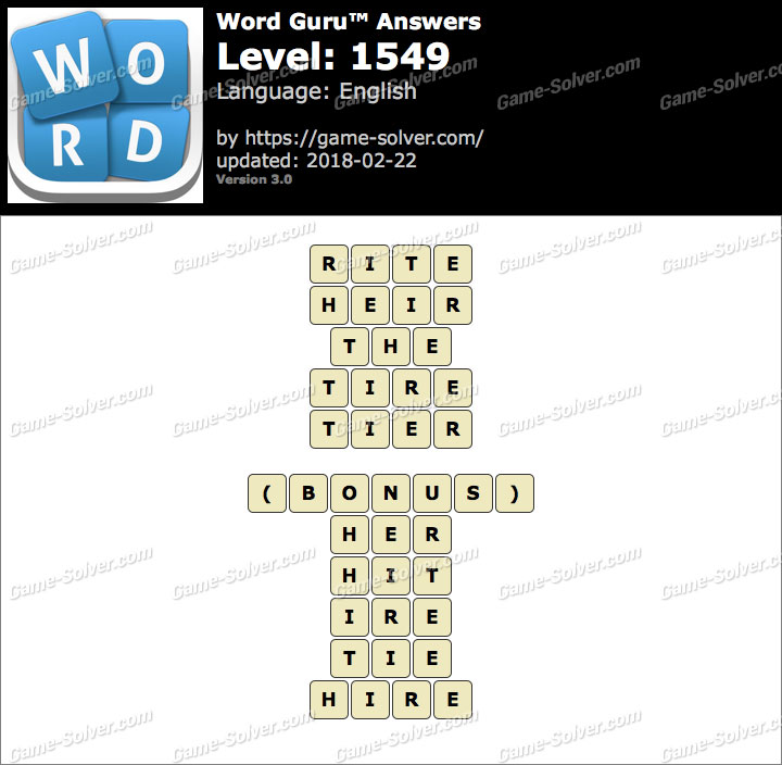 Word Guru Level 1549 Answers