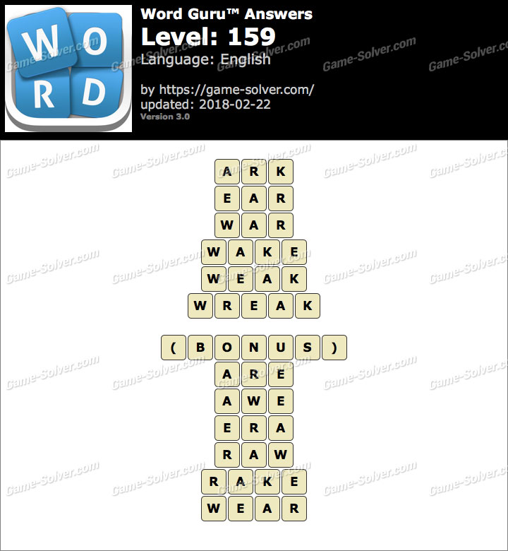 Word Guru Level 159 Answers